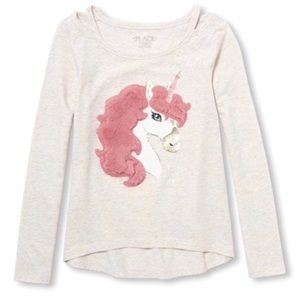 NWT Faux Fur Pink Unicorn Graphic L/S Shirt Top